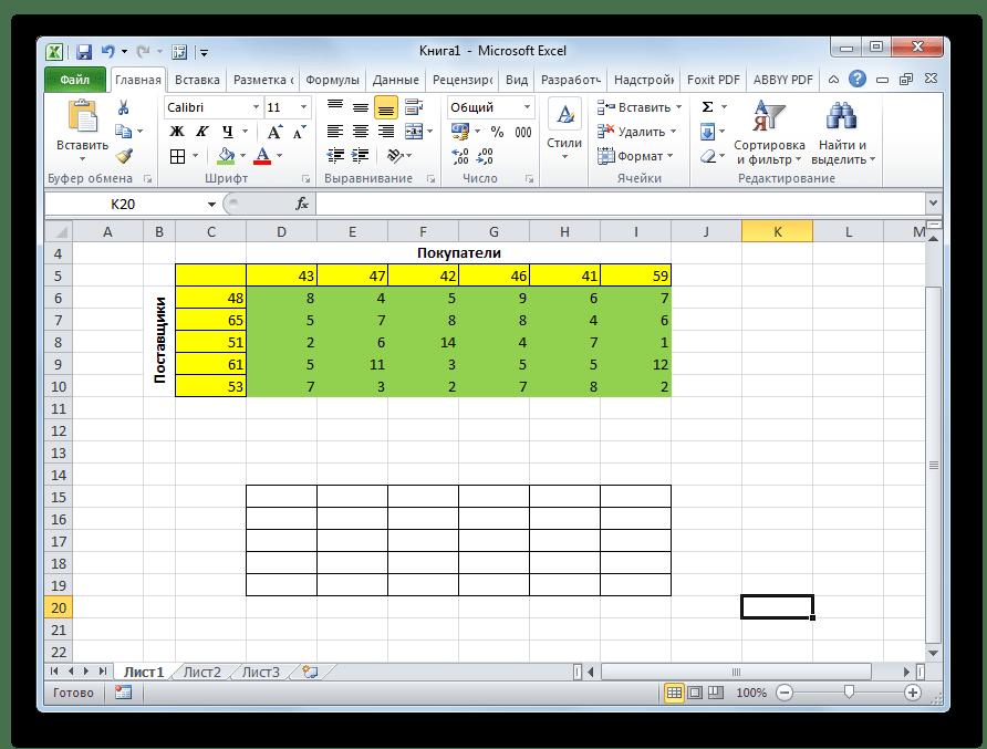 Макет таблицы для решения задачи в Microsoft Excel