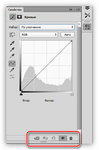 Нижняя панель настроек корректирующего слоя Кривые в Фотошопе