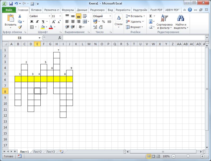 Номера кроссворда в Microsoft Excel