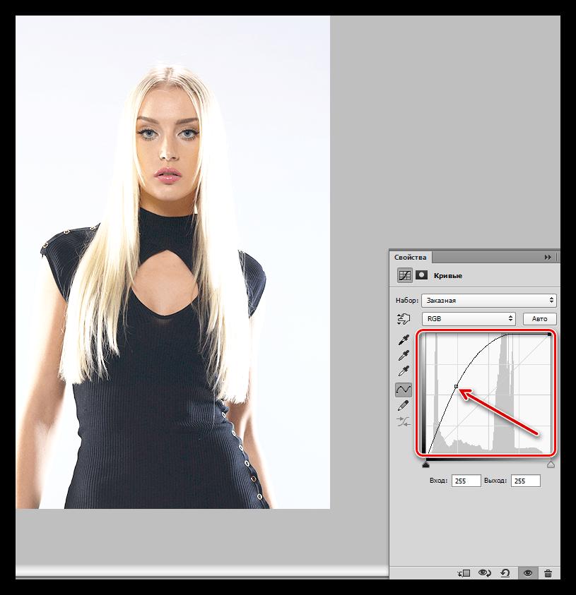 Осветление изображения Кривыми в Фотошопе