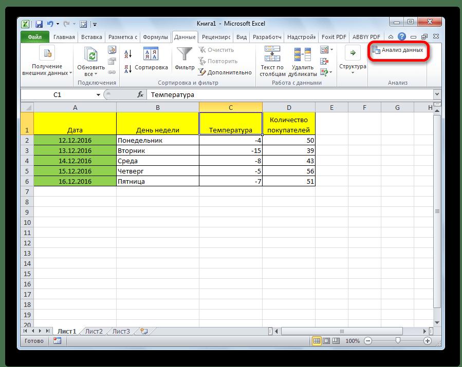 Переход в анализ данных в программе Microsoft Excel