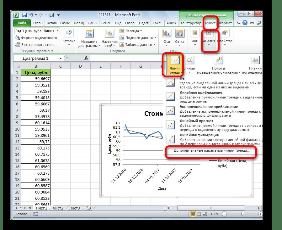 Переход в дополнительные параметры линии тренда в Microsoft Excel