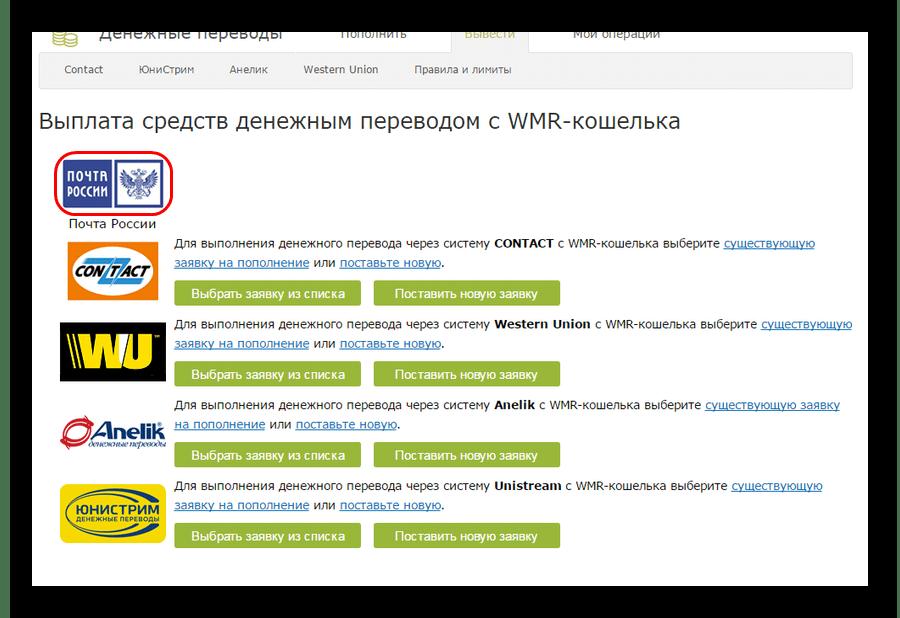 Почта России на странице денежных переводов