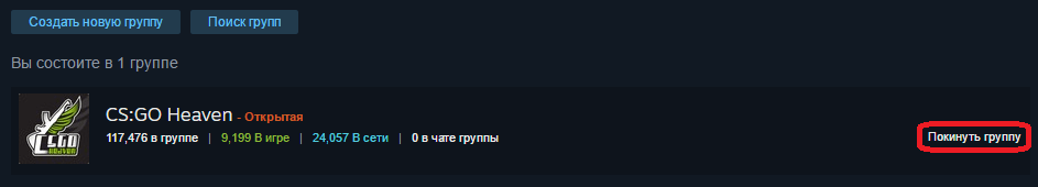 Покинуть группу Steam
