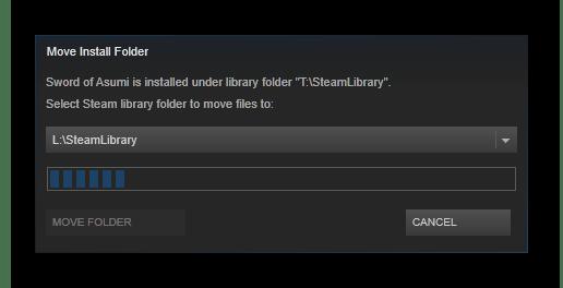 Процесс перемещения игры Steam