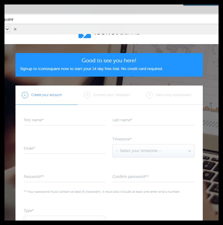 Регистрация в Iconsquare