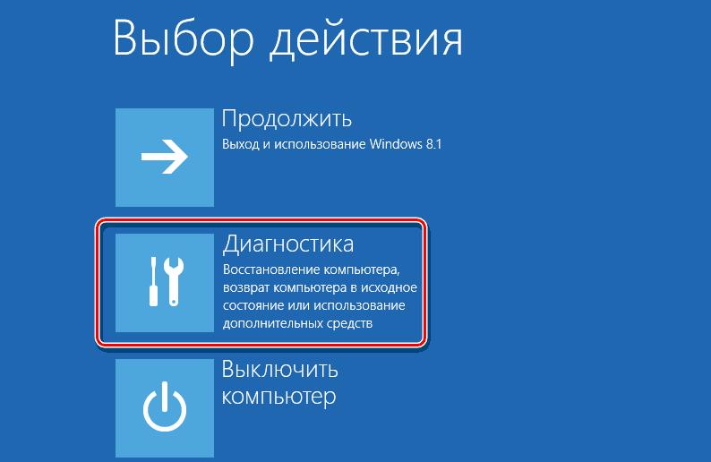 Режим восстановления Windows 8