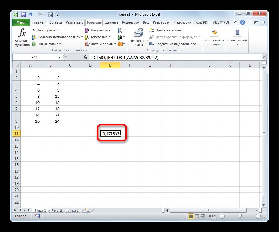 Результат функции СТЬЮДЕНТ.ТЕСТ в Microsoft Excel