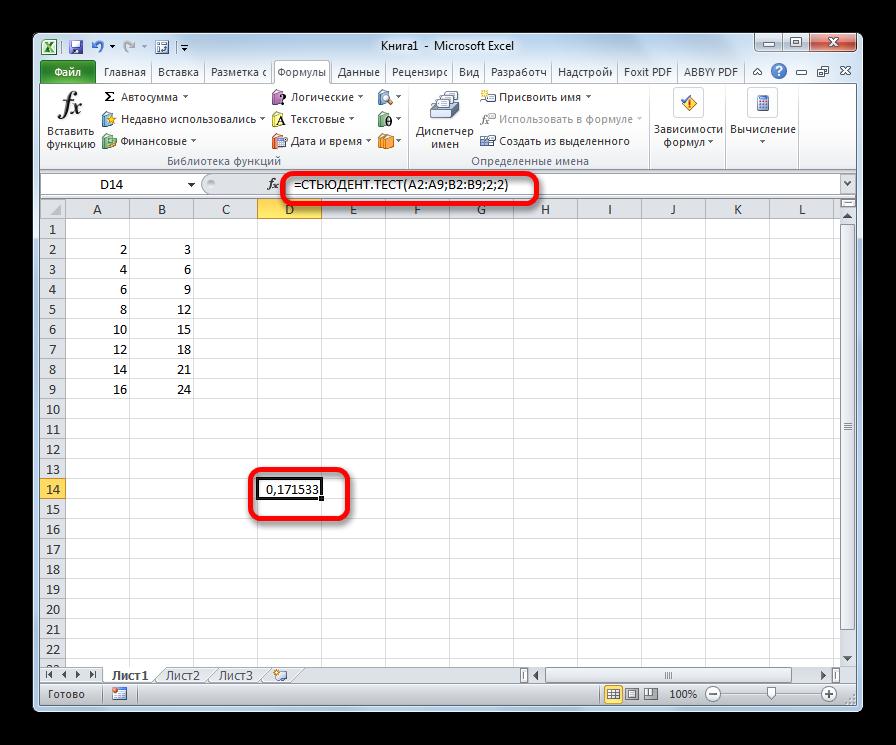 Результат ручного ввода функции СТЬЮДЕНТ.ТЕСТ в Microsoft Excel