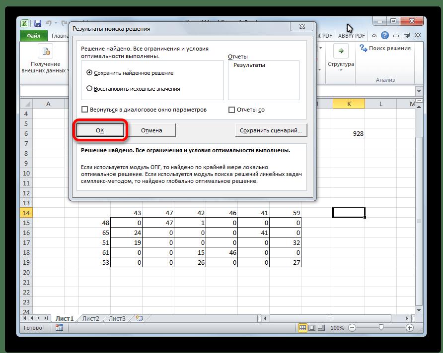 Результаты поиска решения транспортной задачи в Microsoft Excel