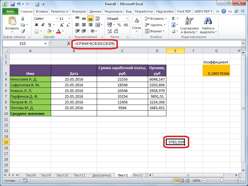 Среднее арифметическое рассчитано в Microsoft Excel