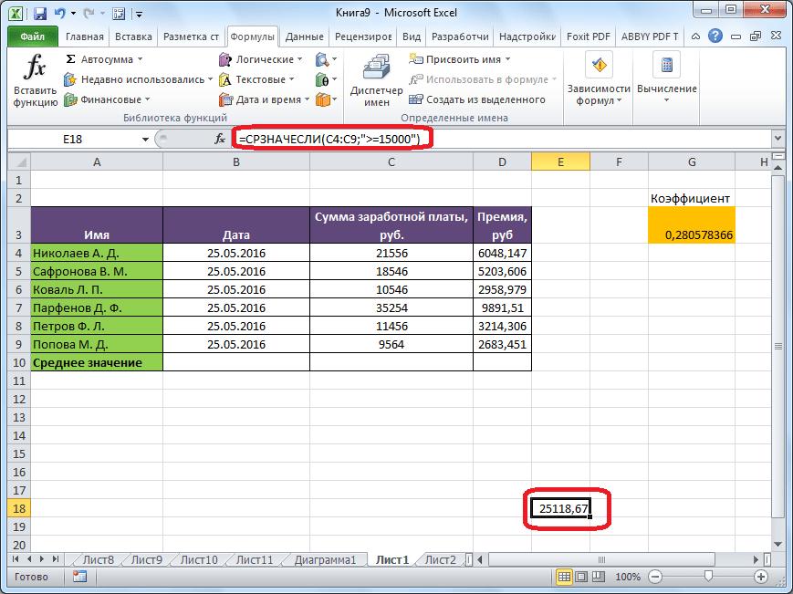 Среднее арифметическое с условием в Microsoft Excel рассчитано