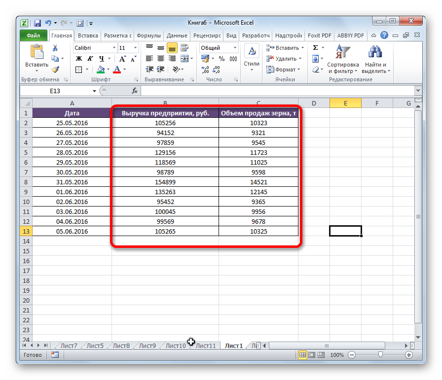 Столбцы пермещены в Microsoft Excel