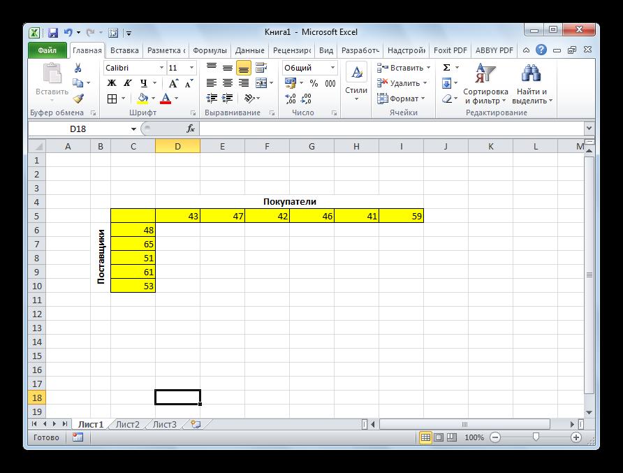 Таблица объемов спроса и предложения в Microsoft Excel
