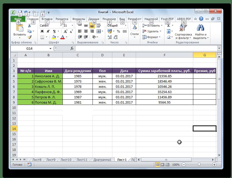 Таблица заработной платы в Microsoft Excel