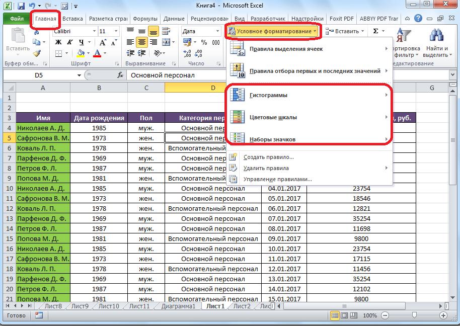Типы условного форматирования в Microsoft Excel