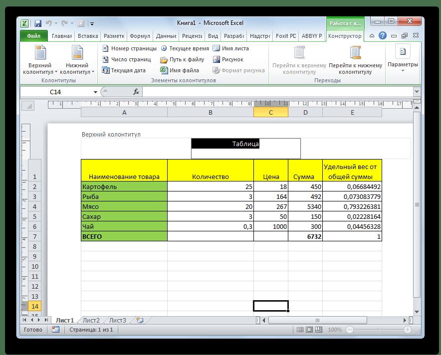 Удаление колонтитула в программе Microsoft Excel