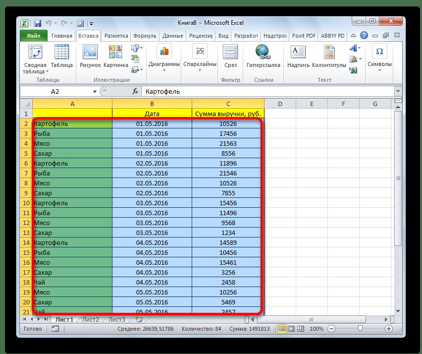 Выделение области в Microsoft Excel