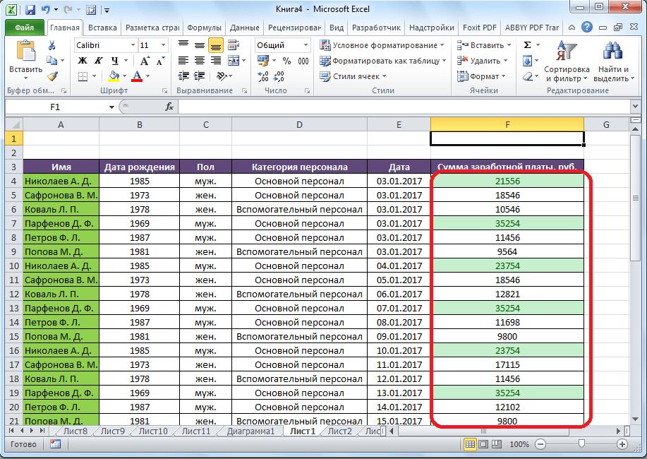 Ячейки выделены согласно правилу в Microsoft Excel