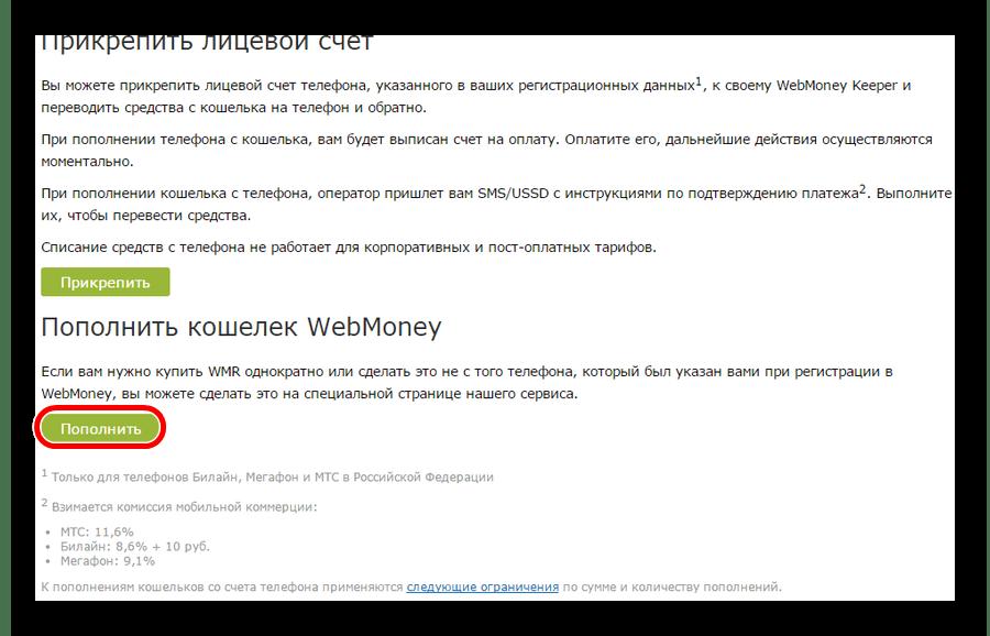 страница с вариантами пополнения счета Вебмани с телефона