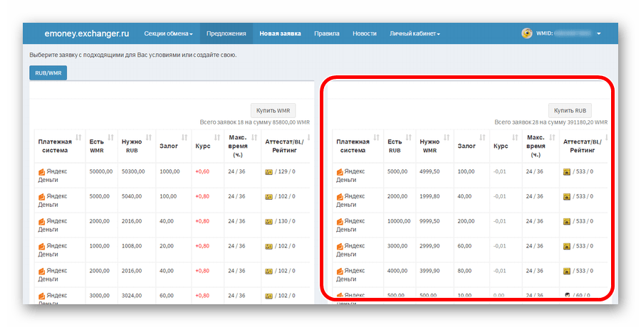 страница сервиса Exchenger для Яндекс.Денег