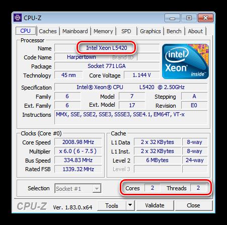 Информация о процессоре для теста браузеров в программе CPU-Z