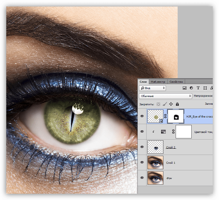 Конечный результот обработки глаз в Фотошопе