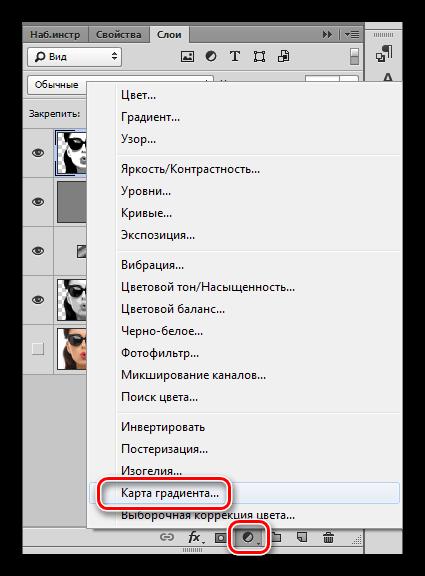 Корректирующий слой Какрта градиента в Фотошопе
