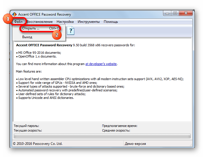 Открытие файла в программе Accent OFFICE Password Recovery.png