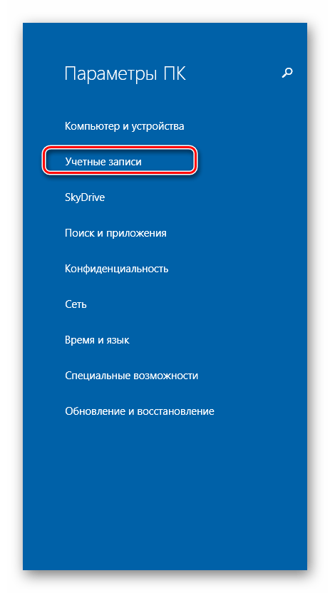 Параметры ПК Windows 8