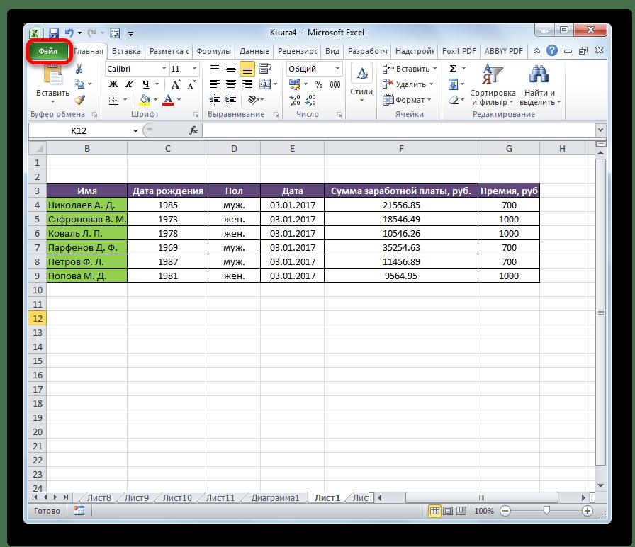 Переход во вкладку Файл в Microsoft Excel.png