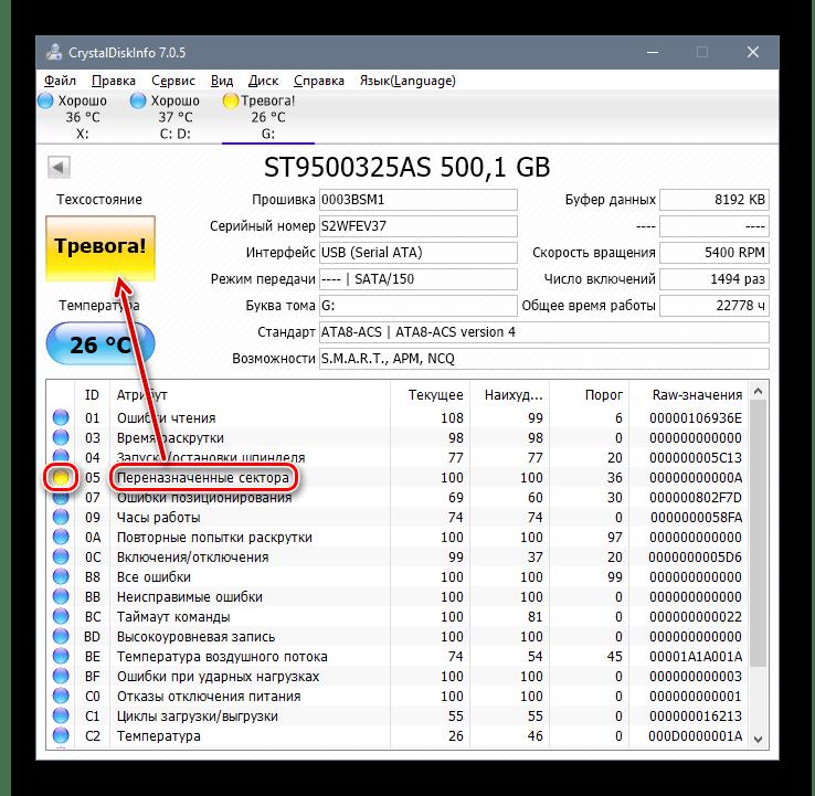 Плохое состояние диска в Crysyal Disk Info
