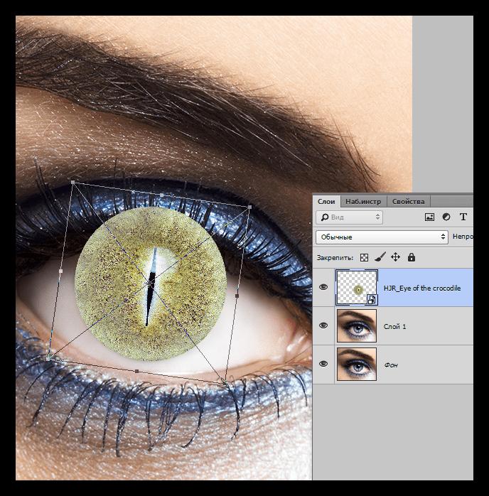 Помещение текстуры на глаз в Фотошопе