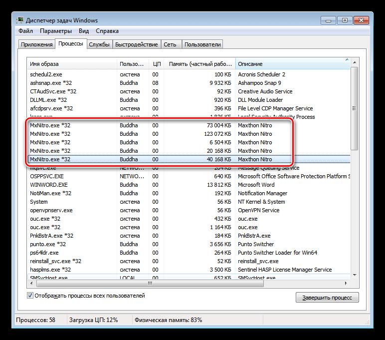 Потребление памяти браузером Maxthon Nitro в статическом режиме