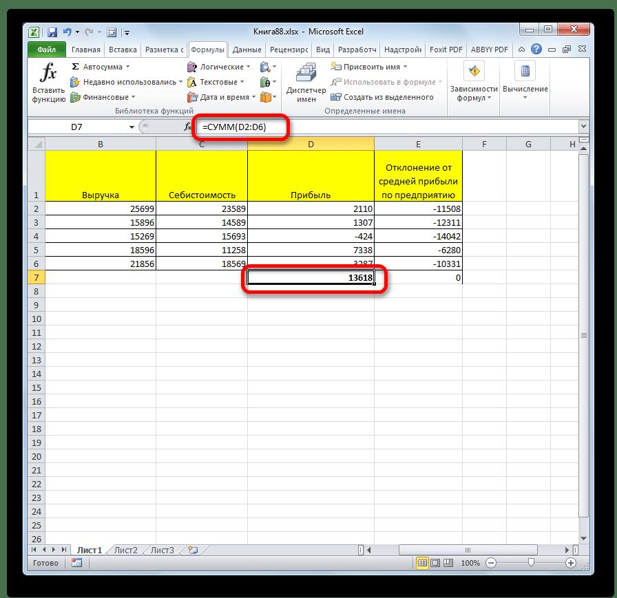 Результат функции СУММ в Microsoft Excel