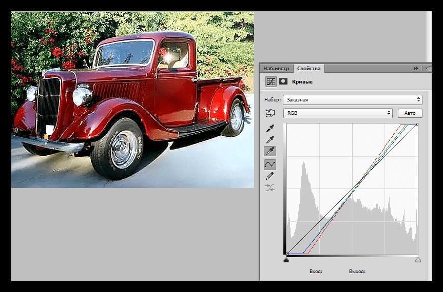 Результат определения точек белого и черного в Фотошопе