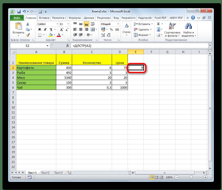 Результат подсчета количества символов функцией ДЛСТР в Microsoft Excel