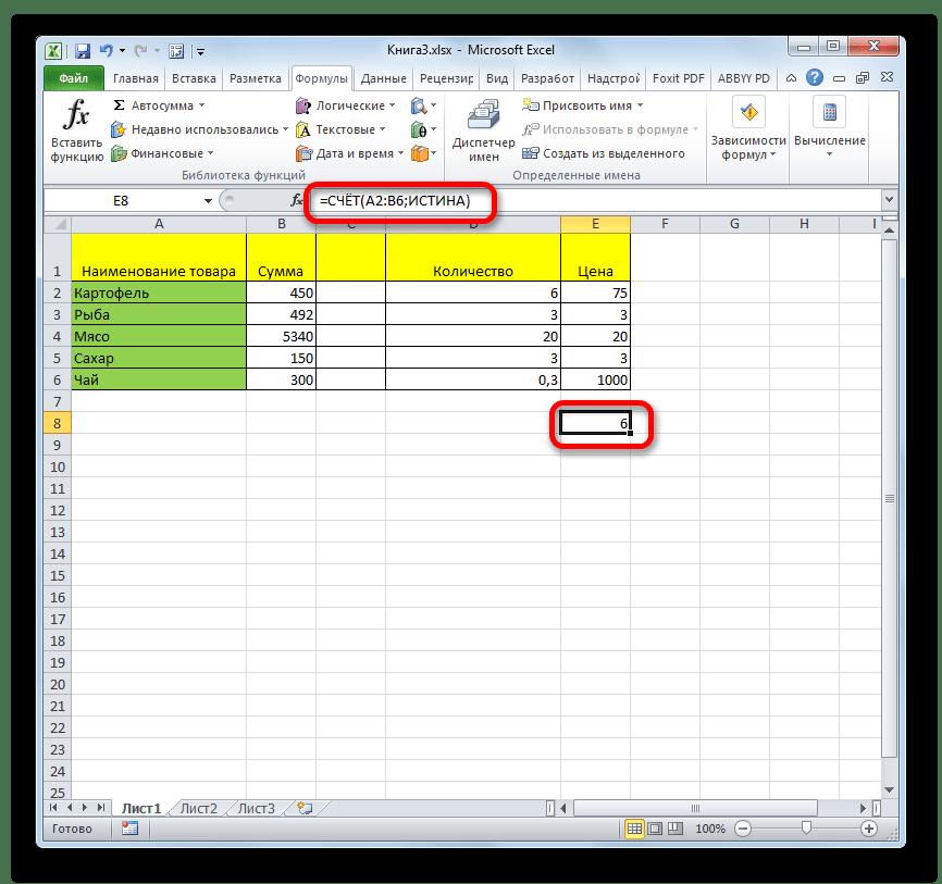 Результат расчета функции СЧЕТ в Microsoft Excel
