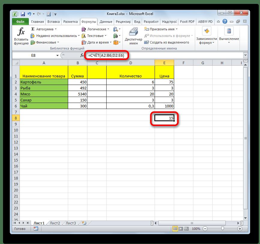 Результат вычисления функции СЧЕТ в Microsoft Excel