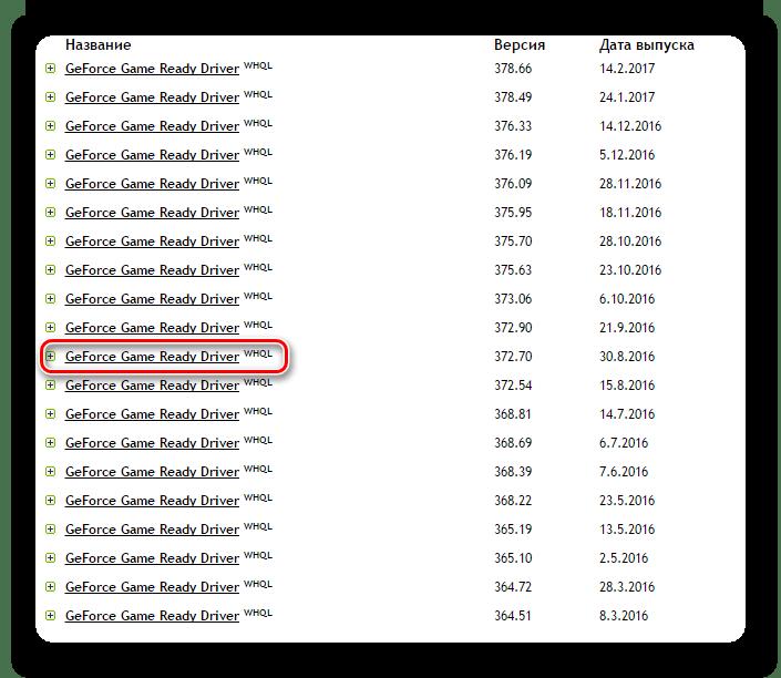 Список архивных драйверов NVidia