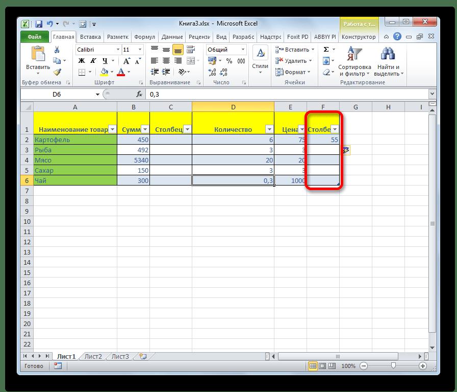 Столбец добавлен в умную таблицу в Microsoft Excel