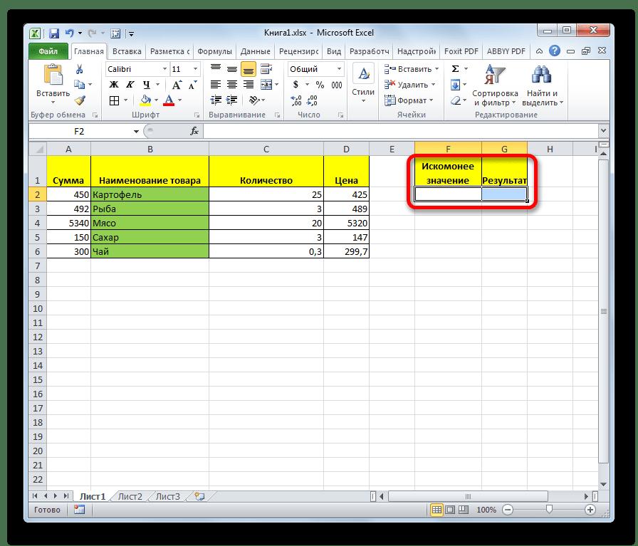 Таблица для вывода результат в Microsoft Excel