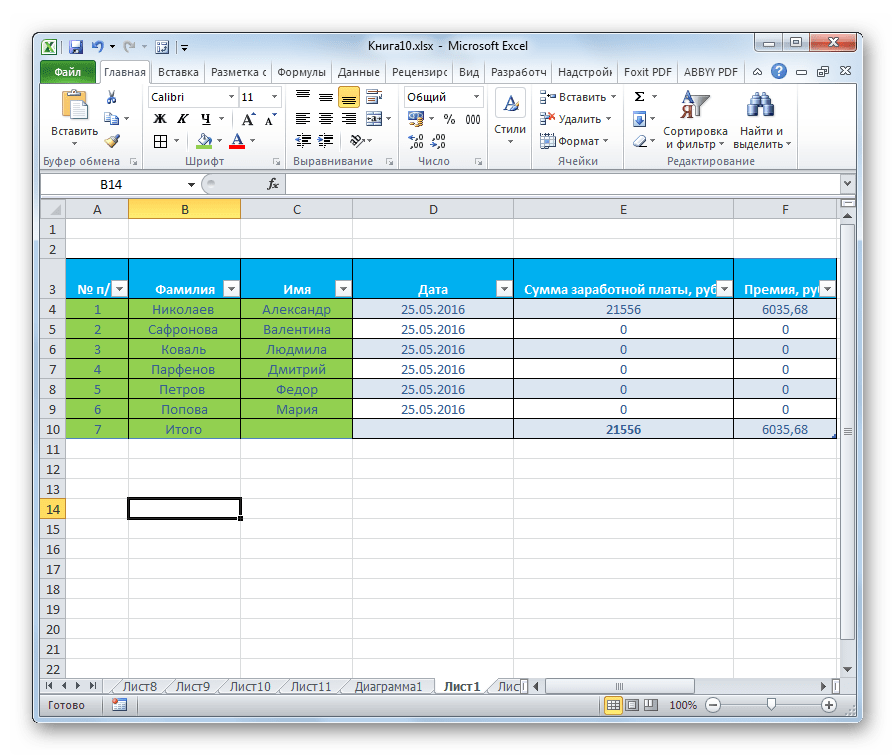 Таблица отформатирована в Microsoft Excel