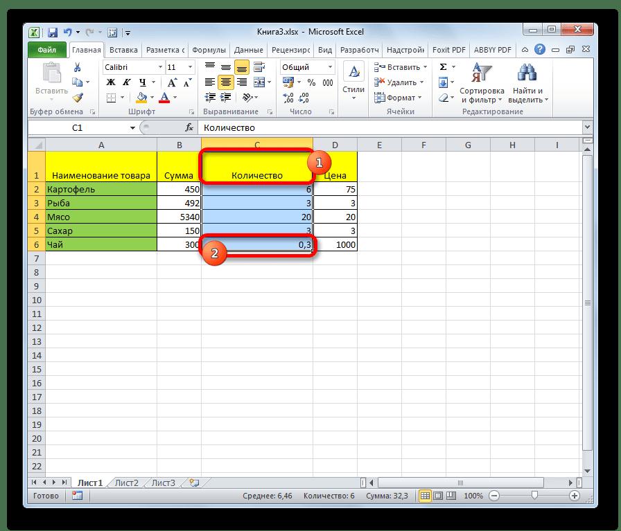 Выделение столбца с помощью клавиатуры. в Microsoft Excel