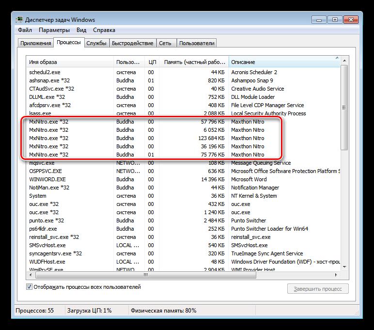 Загрузка процессора браузером Maxton Nitro в режиме простоя