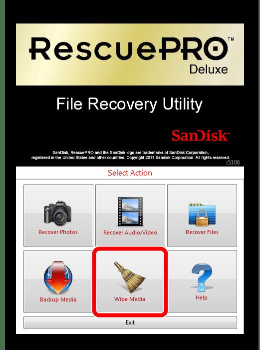 окно SanDisk RescuePRO