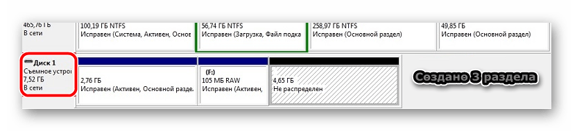 3 раздела на флешке Win32 Disk Imager