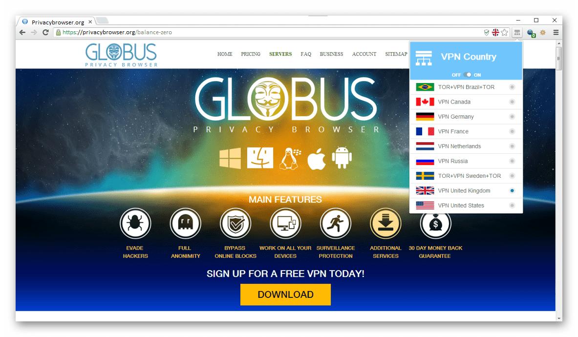 Анонимный браузер VPN_TOR Globus