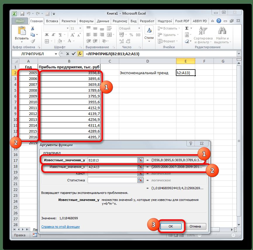 Аргументы функции ЛГРФПРИБЛ в Microsoft Excel
