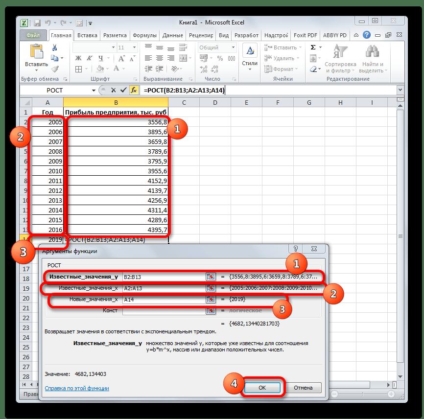 Аргументы функции РОСТ в Microsoft Excel